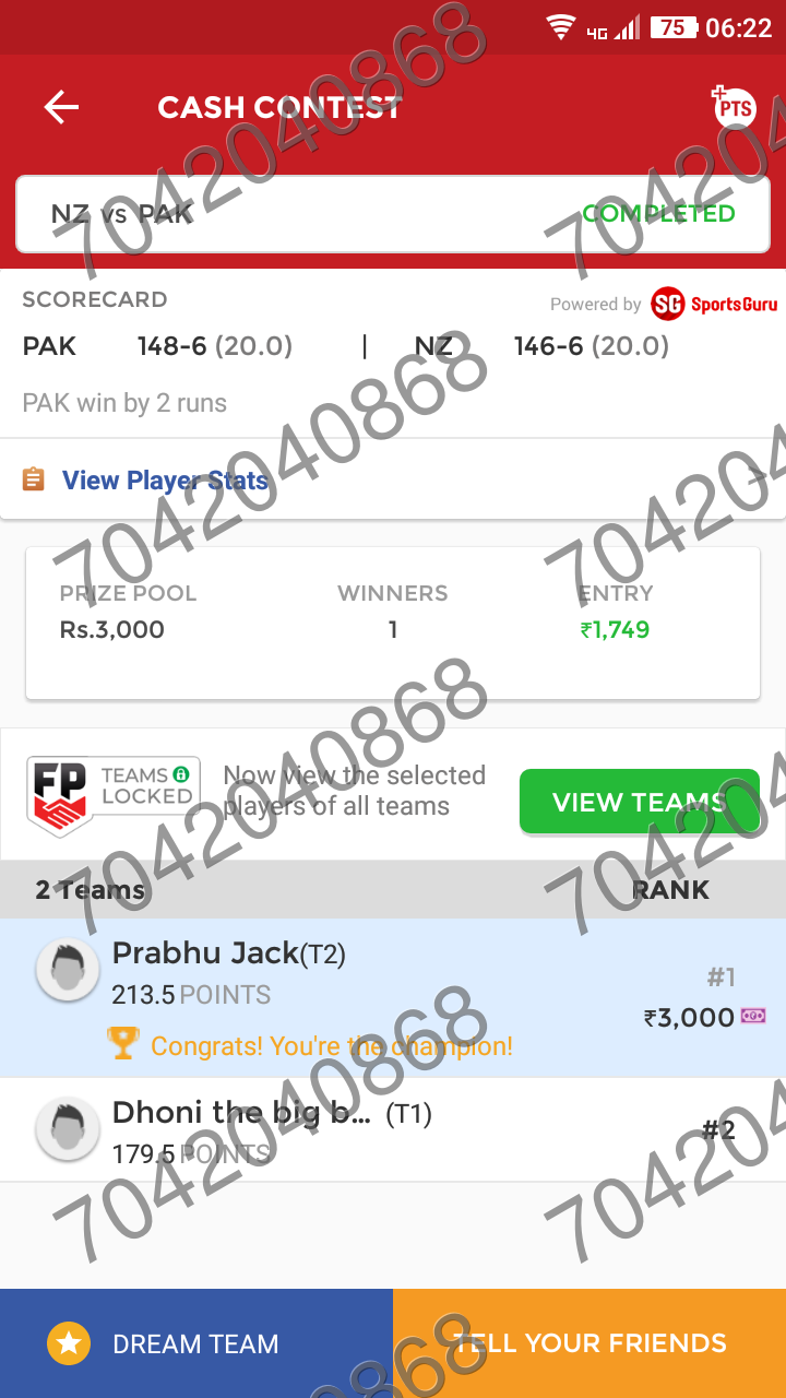 Dream11 Grand League Winning Teams - Fantasy Sports Domination